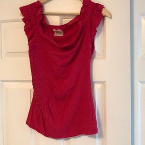 Anthro pink top with detail on shoulders and side
